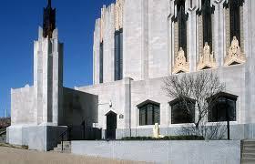 like many art deco buildings the boston avenue church uses various building materials metal glass terra cotta indiana limestone and minnesota granite