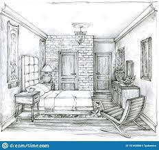 Bedroom Interior Design Drawing Monochrome Sketch Of A Traditional Bedroom Pencil Drawing