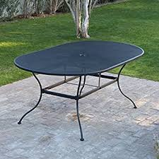 black wrought iron furniture. Amazon Com Belham Living Stanton 42 X 72 In Oval Wrought Iron For Black Patio Set Furniture A