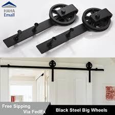 details about 5 16ft sliding barn door hardware track kit black wheel hanger steel closet set
