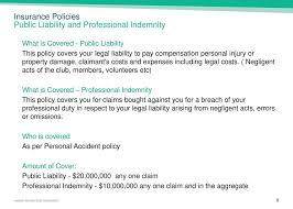 insurance policies public liability and professional indemnity