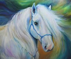 free handmade animals oil painting on canvas modern wall art painting colourful white horse paintings for wall decor in painting calligraphy from