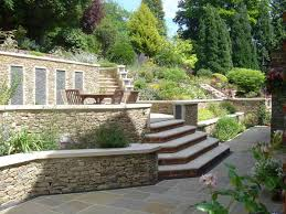 Small Picture terraces and stone garden walls for a steeply sloped backyard