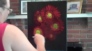 sunny flowers fl sd painting on black canvas you