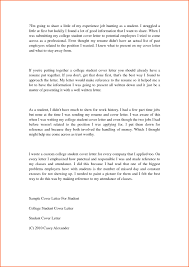 College Application Letters Examples Refrence Student Cover Letter