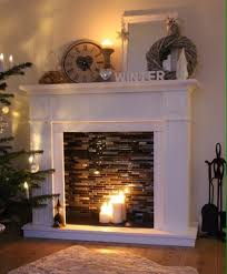 diy faux fireplace with candles makes room warmer and cozy perfect decoration for time