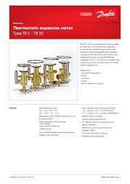 Danfoss Orifice Sizing Chart Kw Thermostatic Expansion Valves Type Te 5 Te 55 Manualzz Com