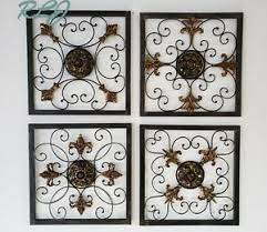 This wall mirror decor makes a bold statement on the wall and it was made using. Rustic Vintage French Country Scrolling Wrought Iron Wall Art Sculpture Set Of 4 Ebay