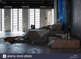 Concrete Floor Bedroom Design Concept Of Loft Interior Design Bedroom With Concrete Floor