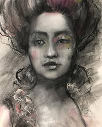"""Renee Mueller Art - Channeling Marie Antoinette?? I knocked over a  container of powdered charcoal on a beautiful piece of """"Arches hot press  watercolor paper"""" After freaking out just a bit 😬"""