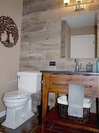porcelain wood tile bathroom accent wall