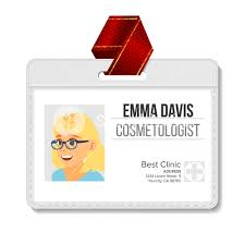 Identification Template Cosmetologist Identification Badge Vector Woman Name Tag Template
