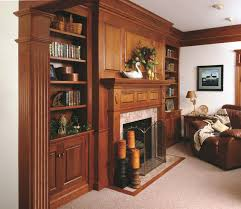 traditional cherry fireplace mantel and bookshelves traditional living room