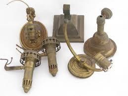 old antique brass sconce lamps wall mount lights lot vintage lighting parts