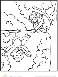 Small Picture Silly Monkeys Coloring Page Worksheets Monkey and Zoos