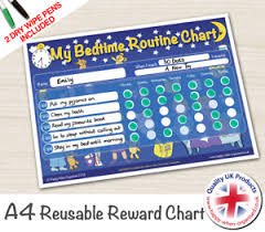 Details About Sleep Reward Chart Reusable Good Night Sleep Tight Child Bedtime Routine 2 Pens