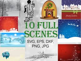 Christmas Scenes Bundle Graphic By Quiet Deluxe Digital Creative Fabrica In 2020 Christmas Scenes Scenes Silhouette Designer Edition