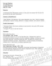Resume Objective For Retail Management