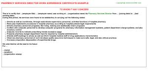 Pharmacy Services Director Work Experience Certificate | Experience ...