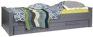 Alfred & Compagnie Children's Bed Solid Wood 90 x 200 cm Steel Grey:  Amazon.co.uk: Baby