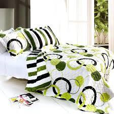 full image for lime green black white teen girl bedding full queen quilt set modern geo