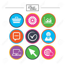 Internet Seo Icons Tick Online Shopping And Chart Signs Anonymous
