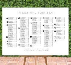 Modern Wedding Seating Chart Modern Wedding Seating Chart Printable Digital File Alphabetical Any Size Pdf