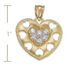 14k yellow gold cz cubic zirconia multi heart charm pendant