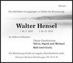 Traueranzeigen von Walter Hensel | Trauerportal Hildesheimer Allgemeine  Zeitung