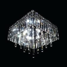 square flush mount crystal ceiling light sparkling clear glass rods falling lighting led lights with pu