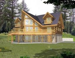 Log Home Plans   Log Cabin Plans SearchAmericas Best House Plans The unfinished basement provides entry to the attached car garage  Each upstairs bedroom has it    s own balcony