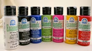 ... Enamel Paints are created specifically for painting non-porous surfaces  (any glass, metal, ceramic). Folk Art Enamels are non toxic and dishwasher  safe ...