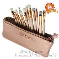 zoeva 12 pcs professional makeup brush set with cosmetics pouch