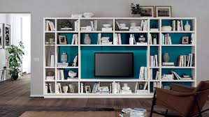 multifunction living room wall system furniture design. View In Gallery Smart Living Room Wall System All-white With A Gorgeous Blue Backdrop Multifunction Furniture Design I