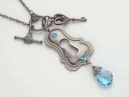 steampunk necklace antiqued silver lock heart shaped skeleton key charm blue topaz swarovski crystal