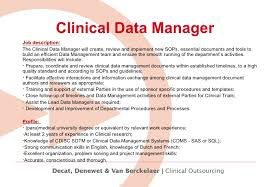 job description data manager working for dedevan