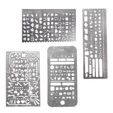 4Pcs Stainless Steel Multi Functional Drawing Template Ruler Stencil ...