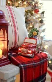 Vintage truck from @kirklandshome in farmhouse Christmas mantel
