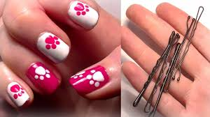 ♥ HELLO KITTY Inspired Nails... Using A Bobby Pin?! Easy Cute ...
