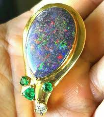 details about custom 14k gold heavy large solid natural opal emerald diamond pendant 17 4g