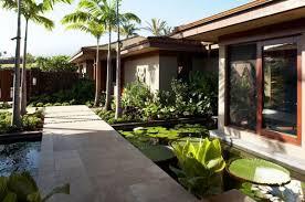 koi pond lighting ideas. Tropical Landscape With A Koi Pond And Broad Walkway Lighting Ideas