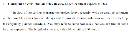 comment on construction delay in view of geotec com comment on construction delay in view of geotechnical aspects 10%