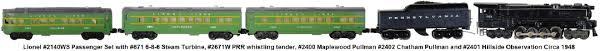 lionel trains lionel 2140ws passenger set 671 6 8 6 steam turbine