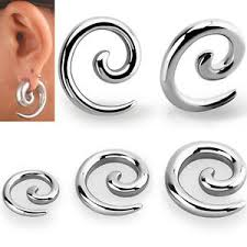 Pair Coil Size Chart Details About Pair Jewelry Polished Metal Steel Ear Plugs Curled Spiral Hanger Earrings 10g 0g