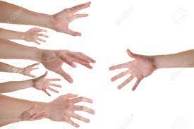 Several Caucasian Hands Reaching For The Helping Hand Stock Photo, Picture  And Royalty Free Image. Image 25675687.