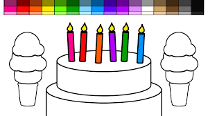 Small Picture Learn Colors for Kids and Color Candles on a Birthday Cake and