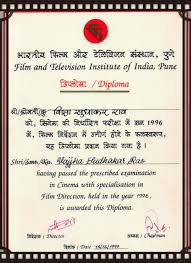 diploma certificate of sudhakar vajjha mentor of a testimonial  as a child of cinema which still i am when my legs were shivering to step ahead because of the fears which i had there were thousands of doubts