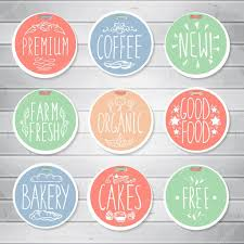 Vintage Food Labels Vintage Food Labels On Wooden Background Hand Drawn Lettering