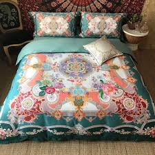 teal c pink purple and white indian pattern moroccan style southwestern themed luxury egyptian cotton full queen size bedding sets