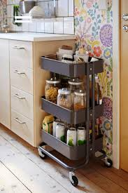 Tiny Kitchen Portable Spice Rack With Wheels Beside Cabinet For Tiny Kitchen